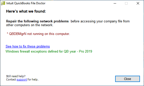 Intuit QuickBooks File Doctor QBDBMgrN not running on this computer